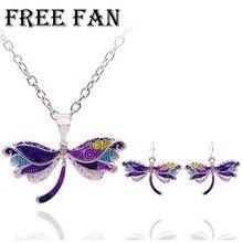 Free Fan Fashion New Women Dragonfly Necklace Earrings Set Enamel Choker Pendant Children