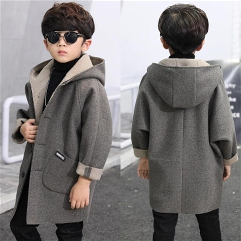 2018 Grey high quality Children Woolen Coat for Boys Hot Autumn Winter Fashion Buttons Kids Clothes handsome grey woolen coat belt for bjd 1 3 sd10 sd13 sd17 uncle ssdf sd luts dod dz as doll clothes cmb107