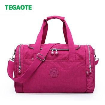 Tegaote grande capacidade de viagem sacos de bagagem duffle saco de bagagem saco de dobramento de náilon unisex bolsa de viagem tote feminino sacos de fim de semana grande