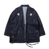 Denim Ceket Anorak Erkekler Boy Japon Streetwear Kimono Kot Ceket Eski Mont Kovboy Hip Hop Punk Rave Giyim Jk6049
