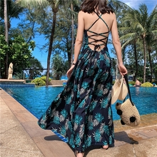 купить Fashion women Summer Bohemia Green Plant Printing sexy Low collar Backless Contrast color Floor-Length Spaghetti strap dress по цене 1041.45 рублей