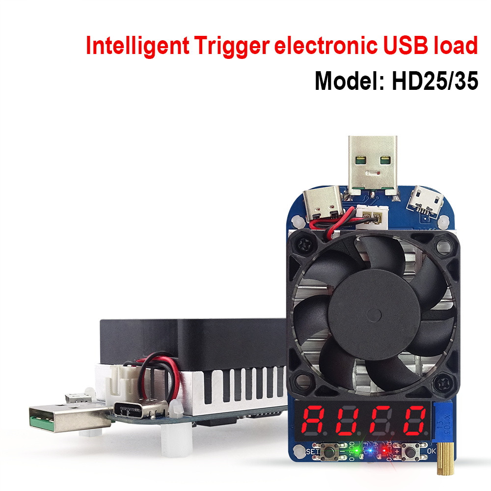HD25 HD35 gatillo QC2.0 QC3.0 electrónico USB resistencia de carga de prueba de batería de corriente ajustable de 35 w 40%