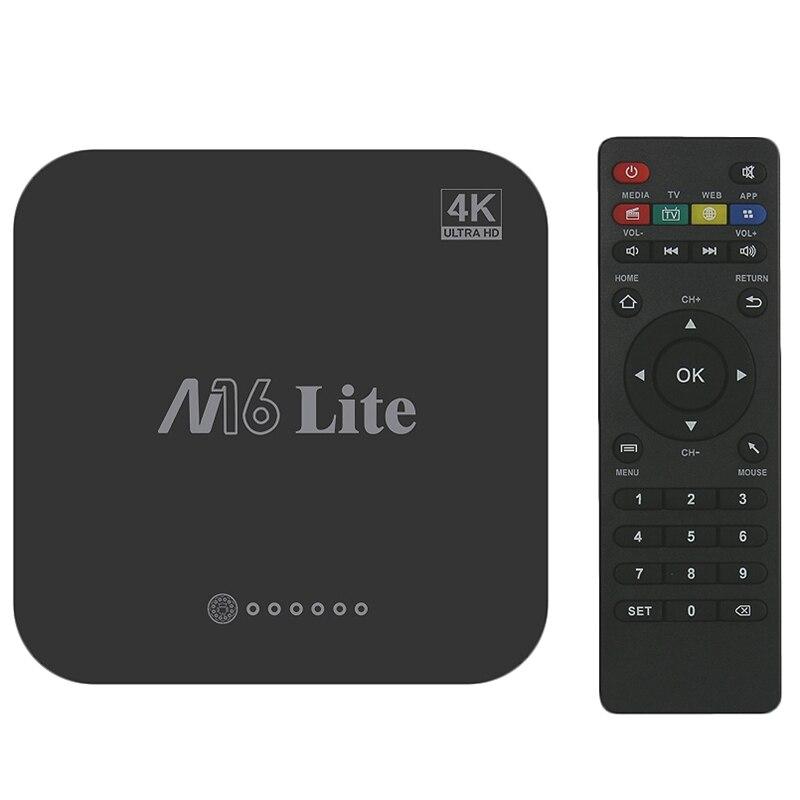 M16 Lite Android Smart Tv Box Ddr3 Emmc Rom Set Top 4K 3D H.265 Wifi Media Player Receiver Eu Plug