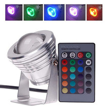 цена на Waterproof 10W RGB LED Light Garden Fountain Pool Pond Spotlight Super Bright Underwater Light Lamp with Remote Control 12V 220V