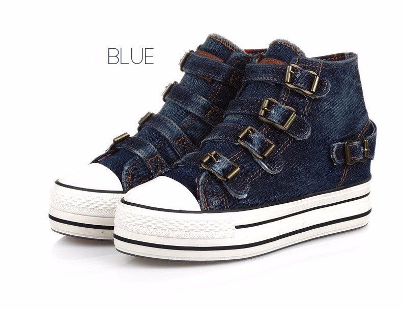 High Top Women Denim Shoes Espadrilles 2016 Fashion Autumn Hide Wedges Canvas Womens Shoes Lace Up Casual Shoes Sapatilha YD135 (31)