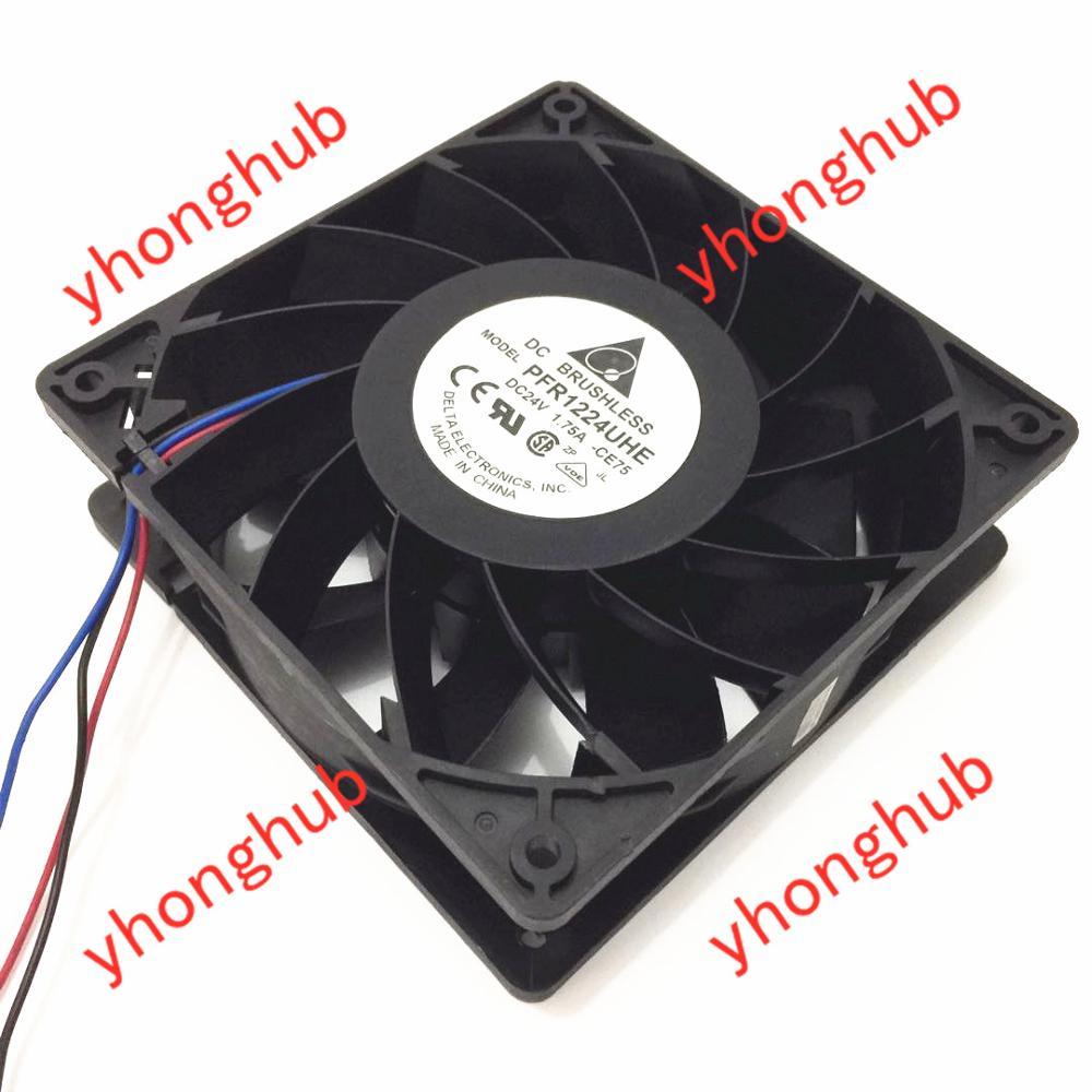 Delta Electronics PFR1224UHE CE75 DC 24V 1.75A 120x120x38mm 3-Wire Server Cooler FanDelta Electronics PFR1224UHE CE75 DC 24V 1.75A 120x120x38mm 3-Wire Server Cooler Fan