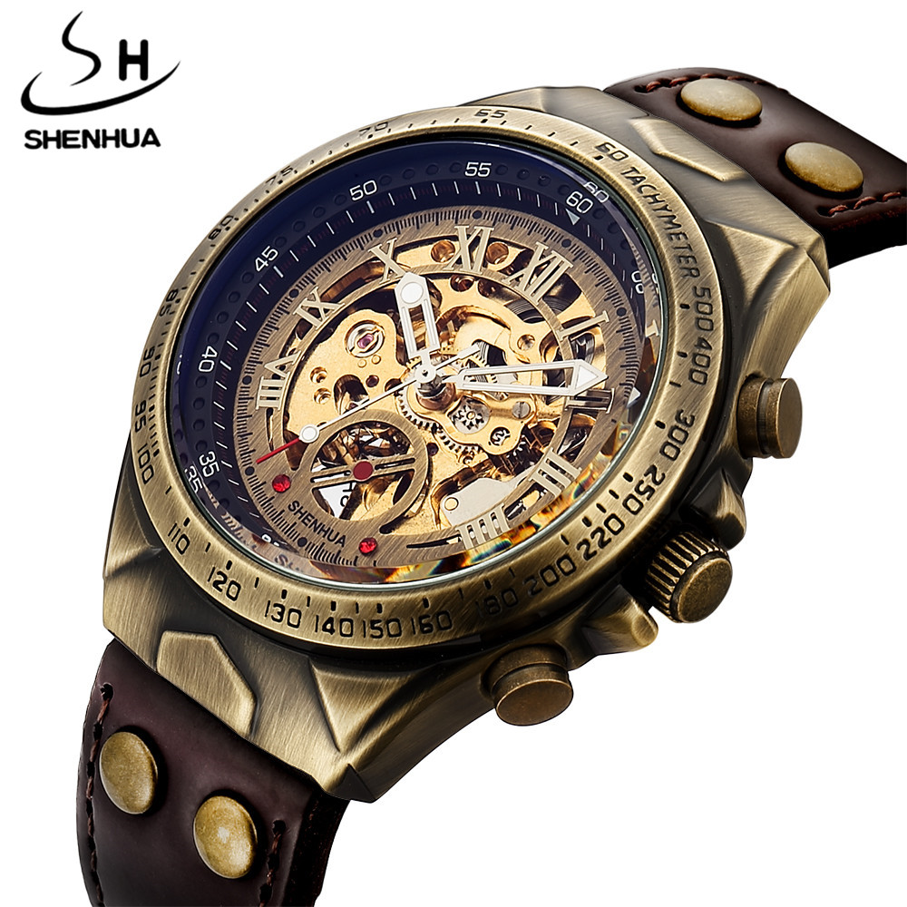 Luxury Top Brand Retro Automatic Watch Men Leather Band Fashion Steampunk Bronze Steel Skeleton Mens Mechanical Wrist Watch Gift winner mens watches top brand luxury leather strap skeleton skull auto mechanical fashion steampunk wrist watch men gift box