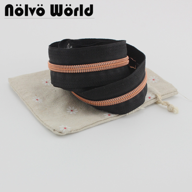 10yards Black Tape Rose Gold 5# Nylon Teeth Zipper Plastic Coil Zipper For Sewing Crafts