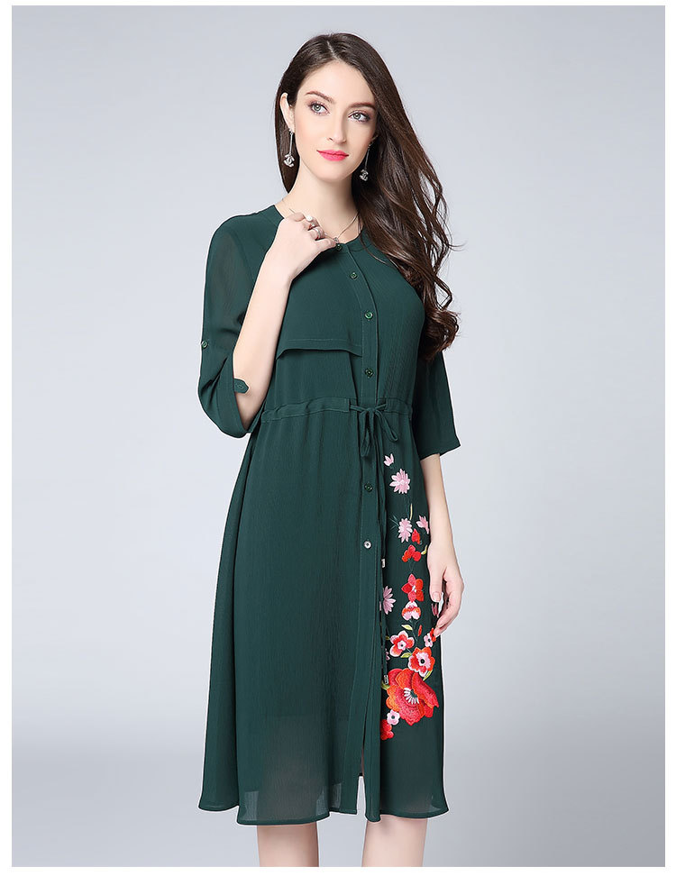 4e3e995763 New Chic Women s Dress Summer 2018 High Quality Ladies Drawstring Waist One  Side Embroidery Floral Dress Big Size Clothing XXXXL