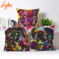 Cushion Cover Colourful Painted Bulldog Dog Bull Terrier One Side Printed CushioN Home Sofa Home Decorative Throw Pillow Cover