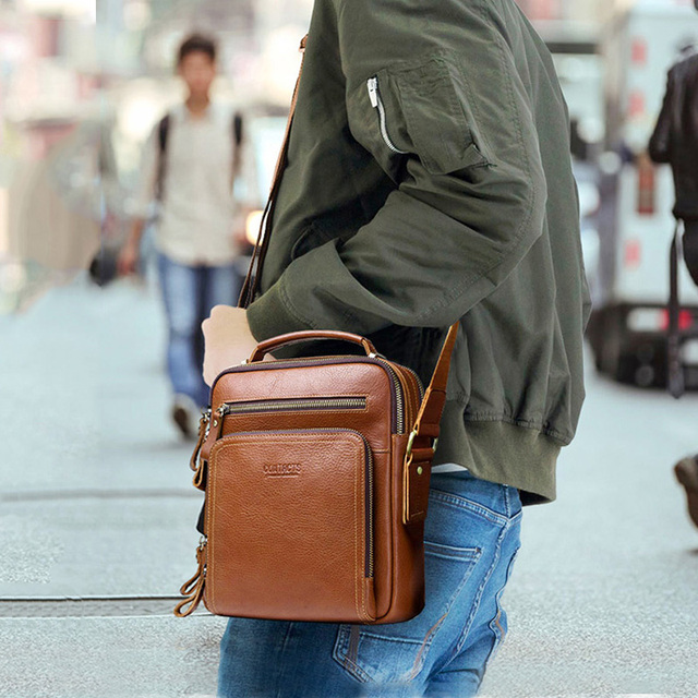 CONTACT'S casual men's messenger bags genuine leather shoulder bags for man luxury brand male crossbody bag fashion for ipad 5