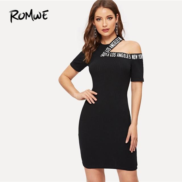 02b88dbf8 ROMWE Cut-Out Shoulder Letter Tape Pencil Dress 2019 Womens Sexy  Asymmetrical Neck Bodycon Dress Black Slim Women Sheath Dress