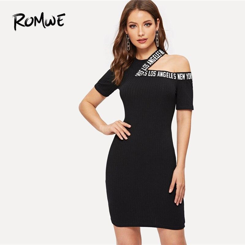 d689c133 ROMWE para corte hombro carta cinta lápiz 2019 Sexy mujer asimétrico  vestido ajustado con cuello ...