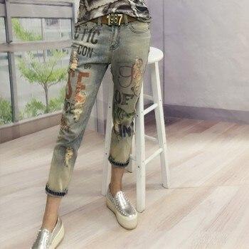 Chłopak Casual Kobiety Moda litery drukowane Brązujący Dżinsy Dama Mody Otwór Ołówek Denim Spodnie Kobieta Skinny Ripped Spodnie