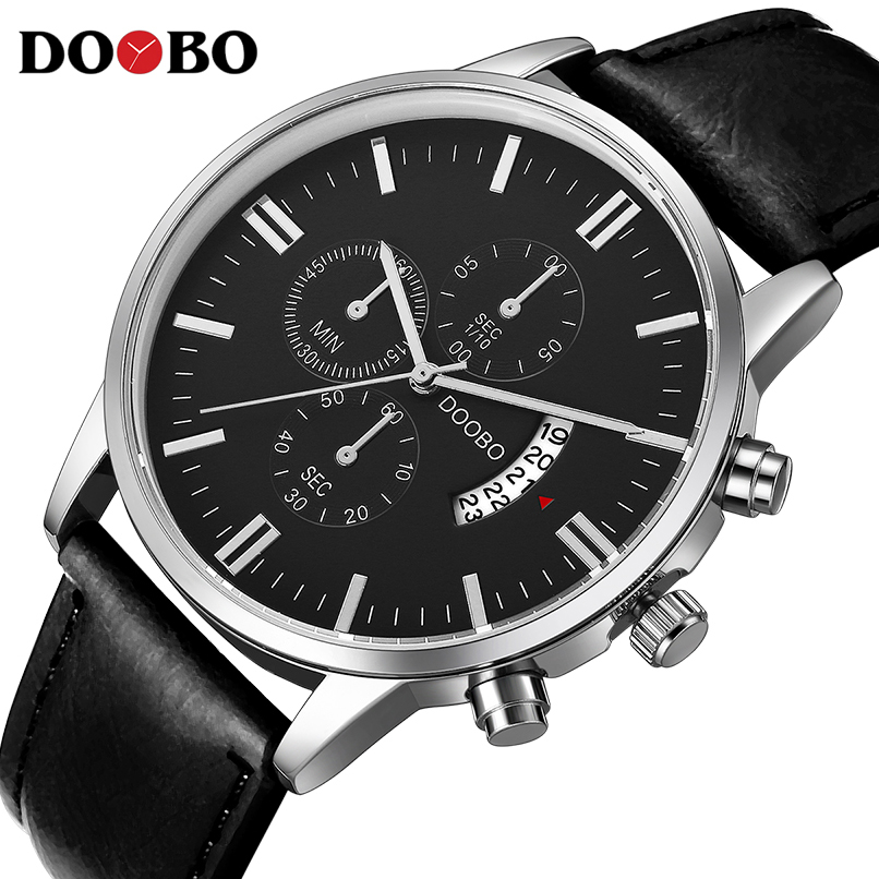Quartz Watch DOOBO Mens Watches Top Brand Luxury Sport Watch Men Fashion Man Wristwatches Leather Strap Relogio Masculino sinobi men watch s shock military watch for man eagle claw leather strap sport quartz watches top brand luxury relogio masculino