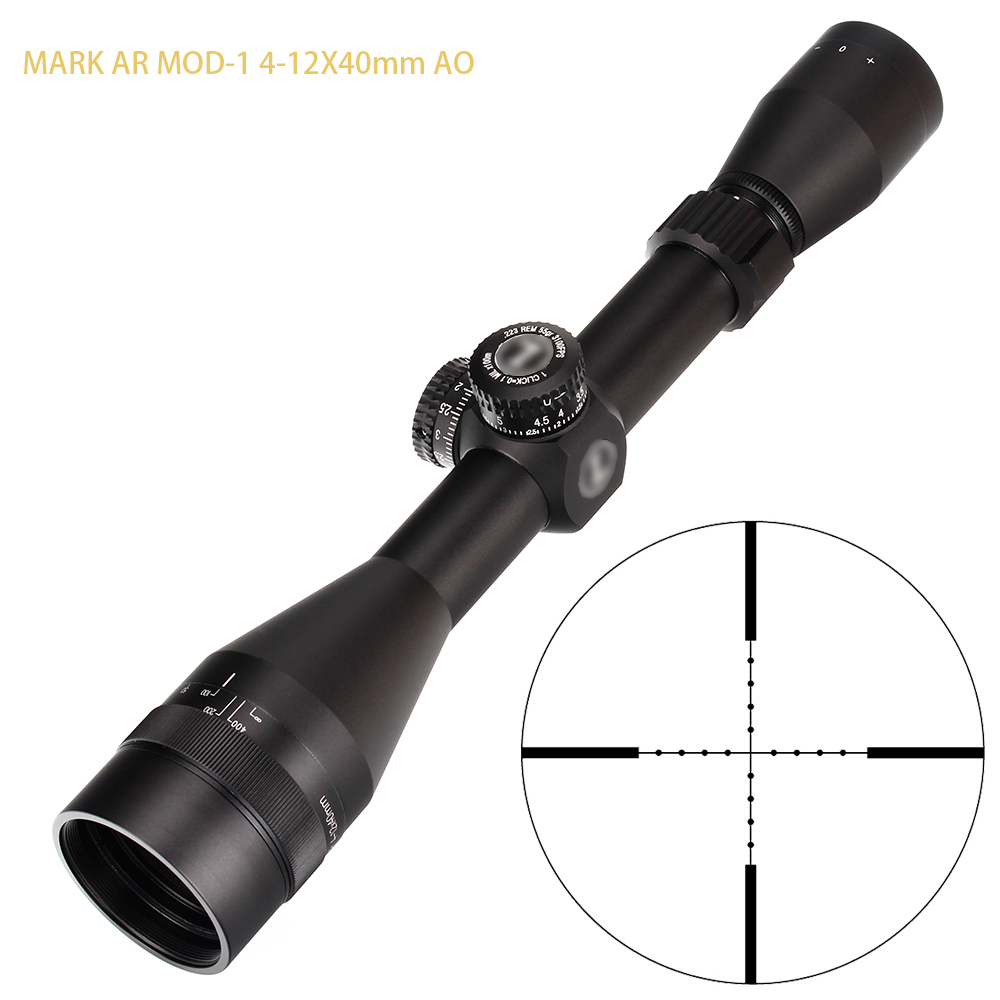 L MARK AR MOD-1 4-12X40 AO Mil-Dot Reticle Hunting RifleScopes 1 Inch Tube Turrets Reset Tactical Rifle Scope