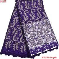 Últimas africano Encaje vestido Telas púrpura soluble en agua química Encaje alta calidad Encaje Telas w2-558