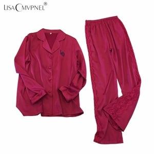 Image 4 - Женский пижамный комплект Lisacmvpnel, с отложным воротником, искусственный шелк, повседневный пижамный комплект, Женская домашняя одежда
