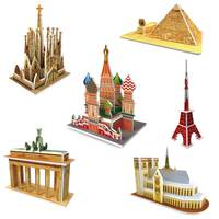 6Sets DIY 3D Paper Building Puzzle Building Puzzle Game Model Educational Toys For Children Under 7 Kits Educational Hobby Gift