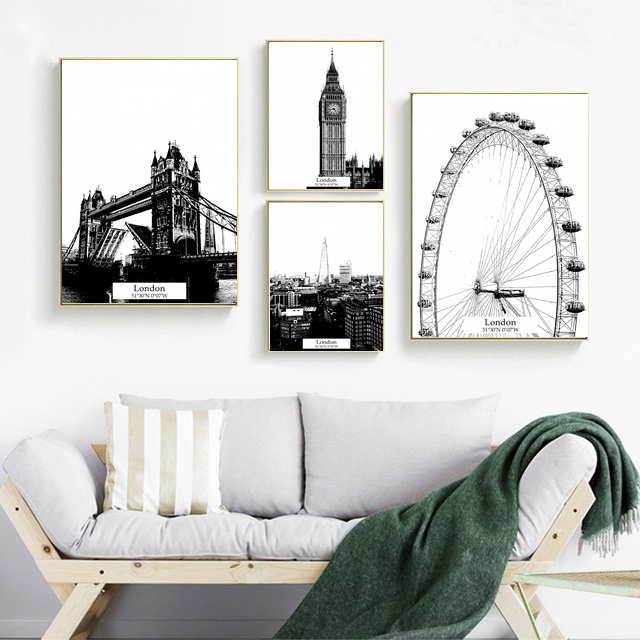 <font><b>Londo</b></font> Building Painting Wall Art Canvas Posters Nordic Prints Decorative Picture Modern Home Bedroom Decoration image
