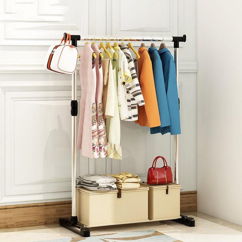 Living Room Furniture Double Folding Metal Coat Rack Clothes Rail Hanging Garment Dress On Wheels Shoe Rack Bedroom Wardrobe
