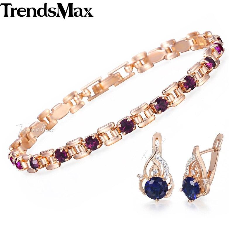 Earrings Jewelry-Set Rose-Gold Zirconia Bracelet Fashion Woman for Women's GE153 585