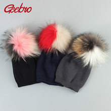 Geebro Winter Kids Cashmere Beanie Hat with Real Pompom 2019 Fashion Knitted Cotton Slouchy Beanies with 3 Tone Colors Pompon(China)