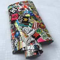 Glossy JDM Graffiti Stickerbomb Vinyl Wrap For Racing Car Vehicle Motorcycle Scooter Decoration Bomb Sticker Film