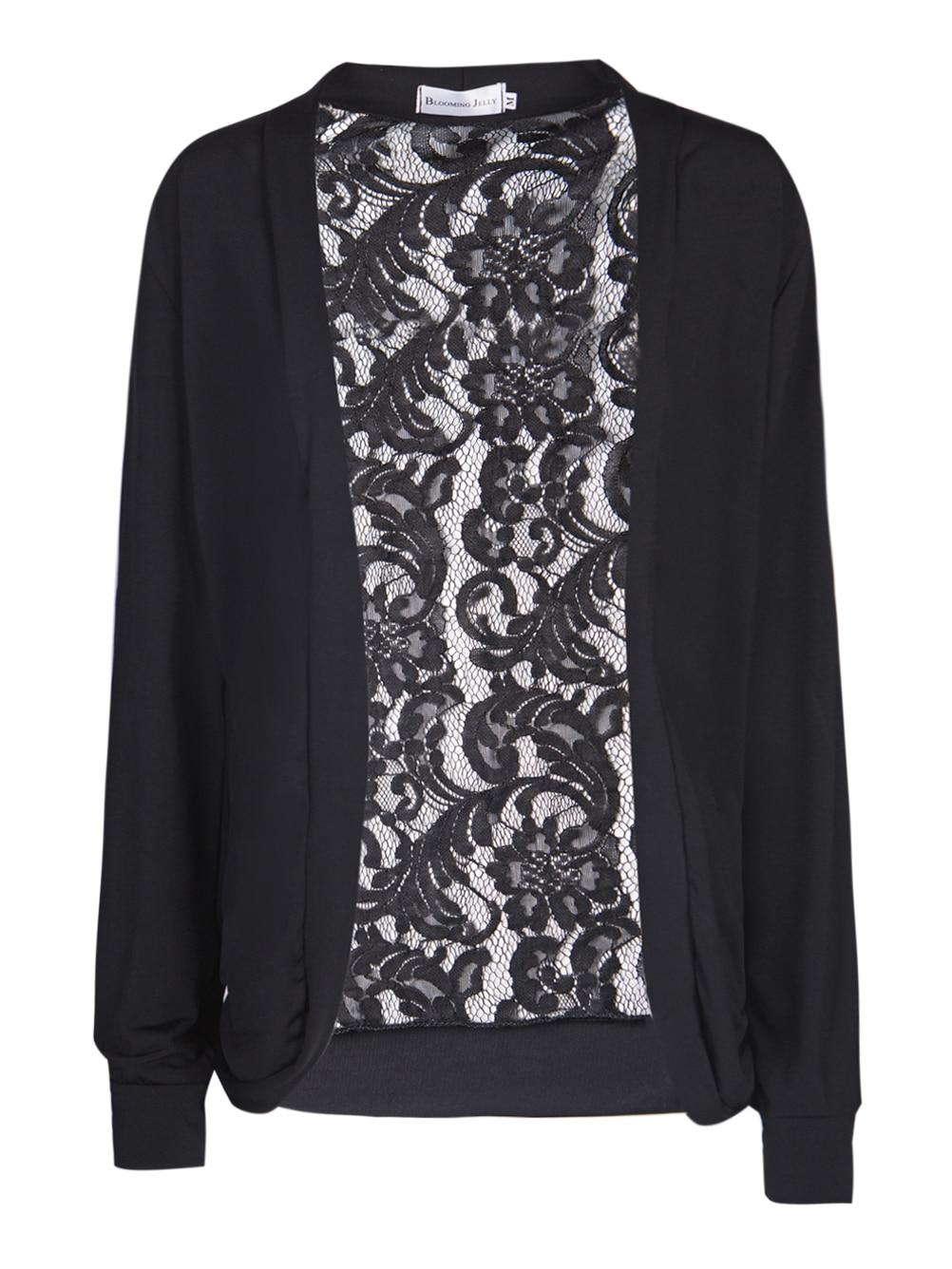 Aliexpress.com : Buy Floral Lace Black Cardigan Kimono Crochet Top ...