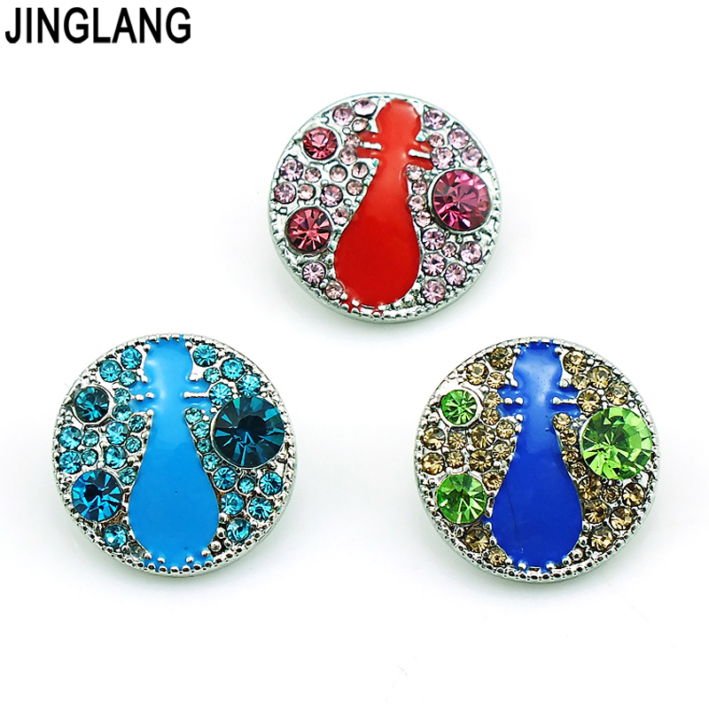 Fashion 3 Color Rhinestone Clasps Ginger 18mm Snap Buttons DIY Interchangeable Jewelry Accessories NKCL0007