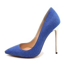 Dropshipping New Fashion Sexy Women's Shoes Pumps Black Pointed Toe Heels Shallow Mouth Work Denim High Heel Women Shoes D026A цена 2017