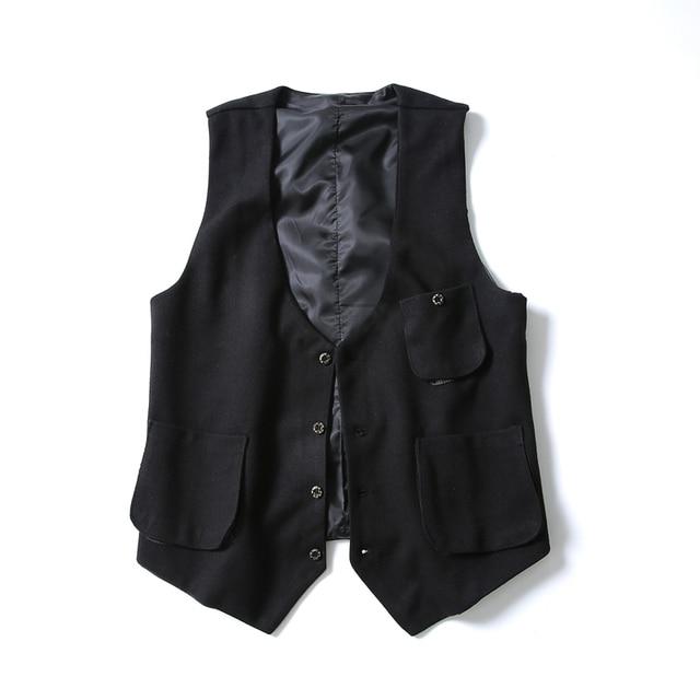 Новые Повседневная мужская Жилет Пальто Плюс Размер М-5XL Шерстяная Ткань черный Slim Fit Мужские Куртки Без Рукавов Однобортный Карманы Жилета мужчины