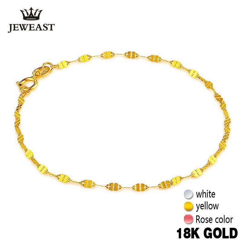 18 k Pur Or Femelle Bracelets Fine Bijoux Quatre Trèfle Cadeau Fille Mince À La Mode Solide 750 Réel Bracelet Partie Bonne belle Comme Vrai