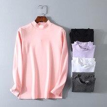 Cotton Fashion Autumn Winter Turtleneck T Shirt Women Long Sleeve T-shirt For Tshirt White Black Tops Tee Femme D115