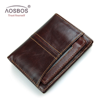 Aosbos Vintage Genuine Leather Men Wallets RFID Vertical Small Thin Purse Card Holders Zipper Short Wallet