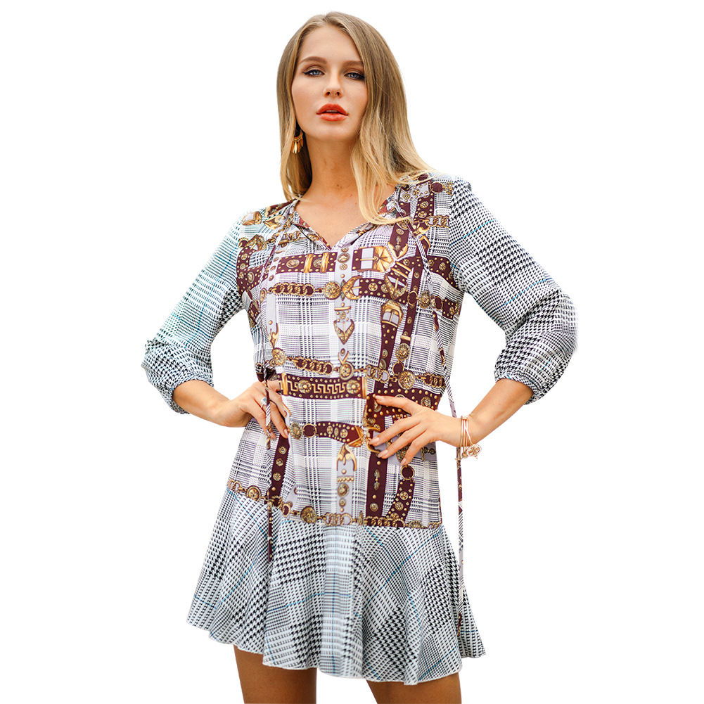 Vintage Printed Ruffles Women Loose Dress Polyester  V-Neck  A-Line  Club Dress