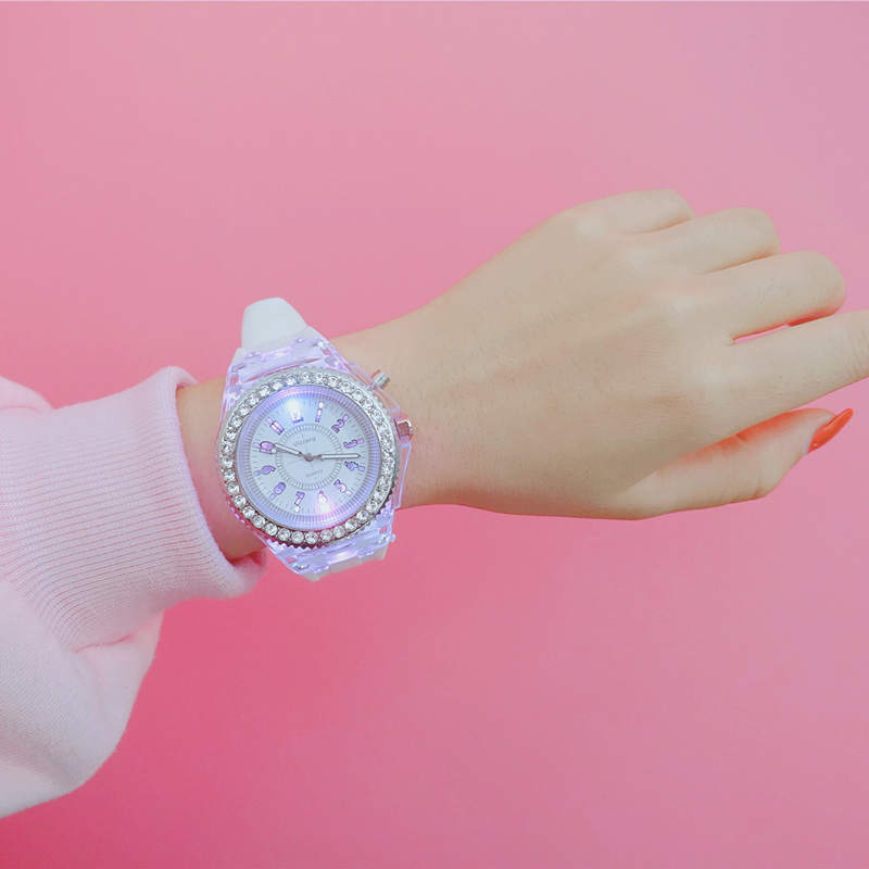 Digital Shinny Led Watch Women Casual Fashion Unisex Silicone Watchband White Wristwatch Female Clock Creative Gift For Lady