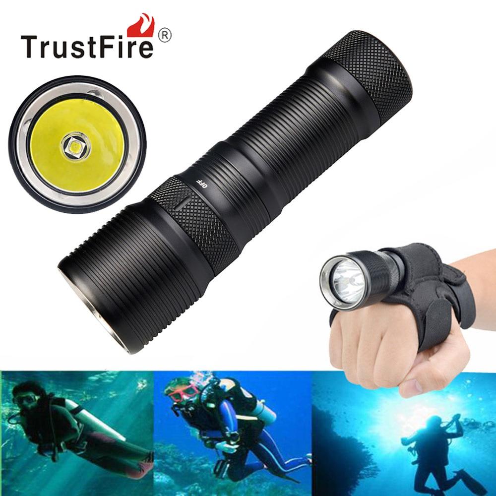 цена на TrustFire DF008 XM-L2 LED Diving Flashlight Torch Magnetic Control Switch 3 Mode 26650 Waterproof Underwater Dive Flash Light