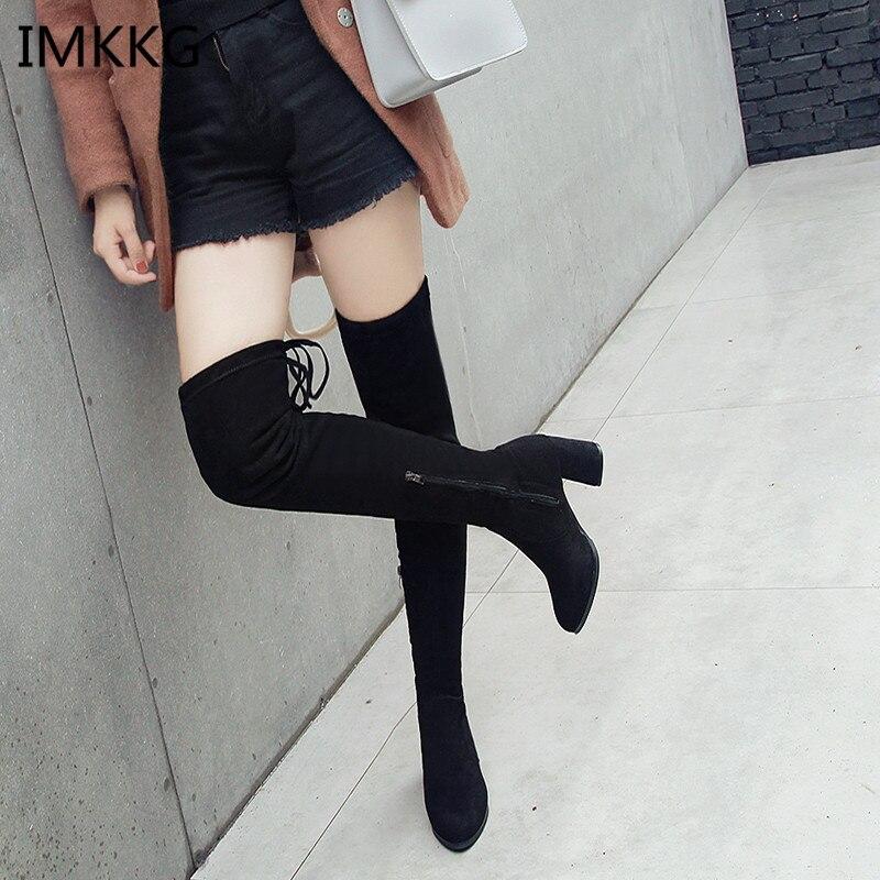 2018 Winter Neue Mode Frauen Stiefel Sexy Spitzen Schwarz Plus Baumwolle Warme Stiefel Frauen Mode Komfortable Hohe Ferse Stiefel V392
