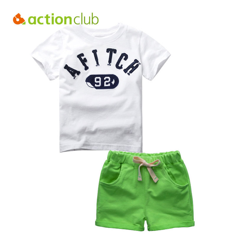 Actionclub Baby Boys Summer T-shirt and Pants Kids Cotton Clothing Set Boys Letter Print Tops Trousers Clothes For Children