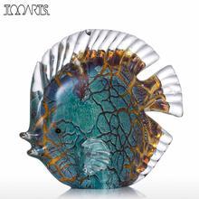 Красочные пятнистые Тропические рыбы стекло скульптура рыбы скульптура современное искусство подарок художественное оформление украшение дома