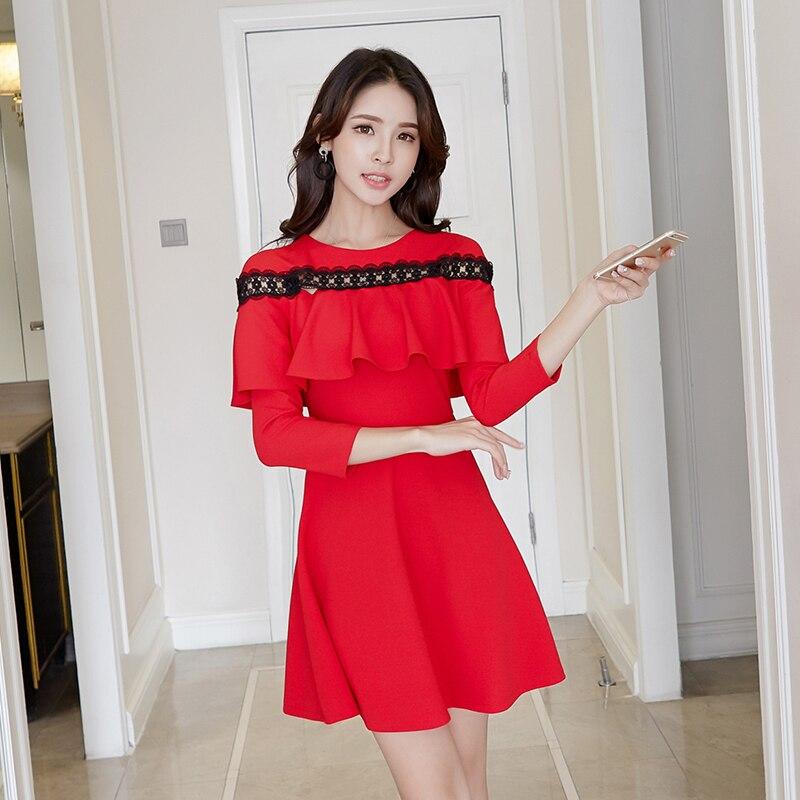 5884ab4f3ce7 Debowa vestido de encaje dulce para mujer 2018 nuevos vestidos de primavera  para mujer 3/4 manga ...