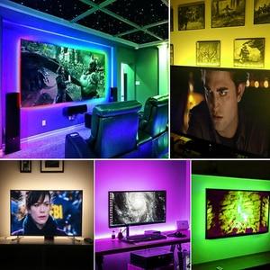 Image 5 - 5V RGB usbli şerit LED ışıklı bant 5050 tira led USB diyot bant su geçirmez 1M 2M 3M TV arkaplan ışığı bande aydınlatma dekorasyon lambası