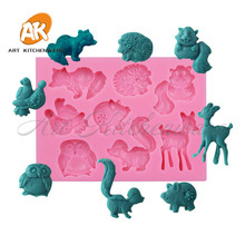 hot deal buy forest animal silicone cake molds squirre/hedgehog/deer mould cake tool sugarcraft mold bakeware diy cupcake mold sm-362