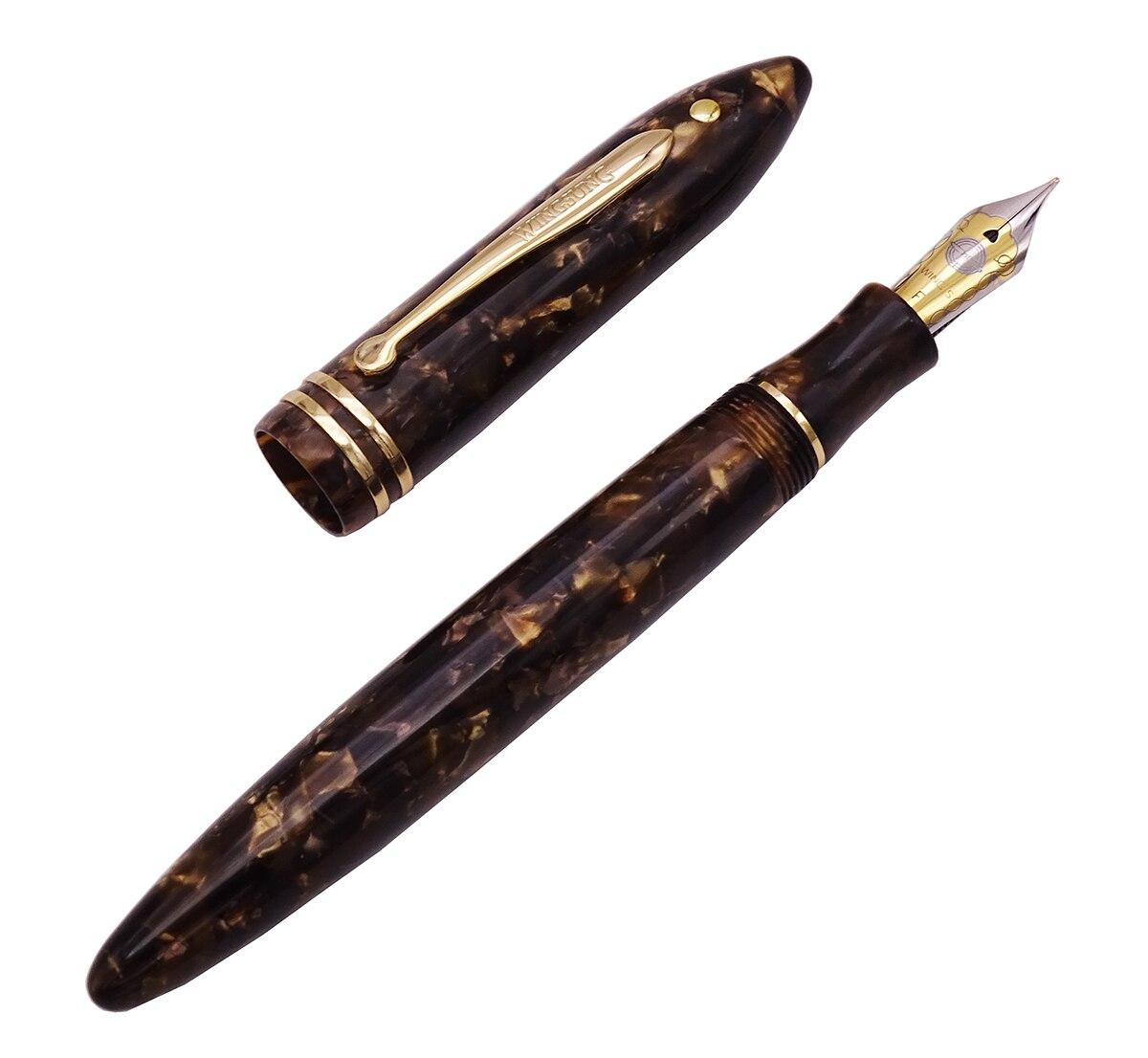 Wing Sung 626 Wingsung Celluloid Classic Fountain Pen Little God Dot Resin Brown Iridium Fine 0