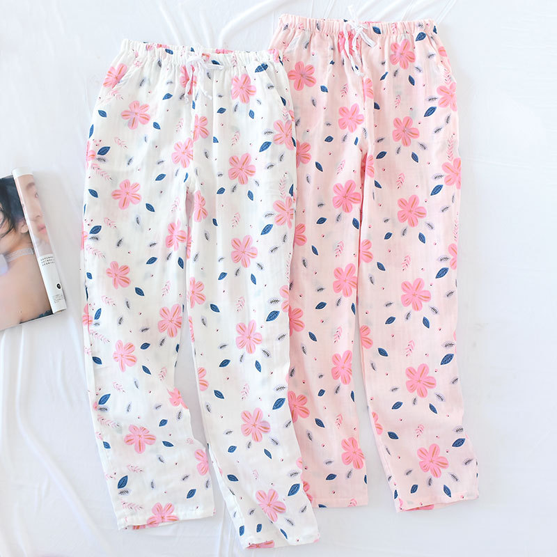 Cotton Gauze Pajama Pants Thin Casual Summer Sleep Bottoms Knitted Floral Plus Size Home Wear