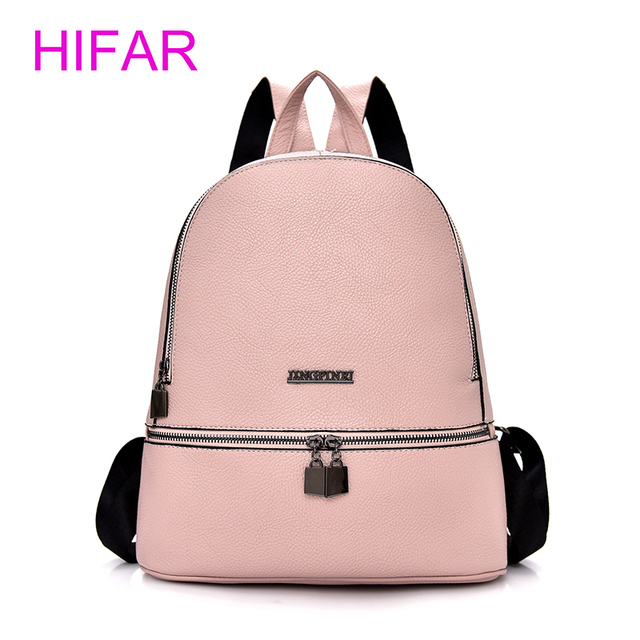 a01f2f7f95 2018 Simple Style Backpack Women PU Leather Backpacks For Teenage Girls  School Bags Fashion Vintage Solid Black Shoulder Bag