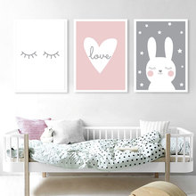 Nursery Wall Art Canvas Painting Nordic Posters A Rabbit Poster Kids Room Posters And Prints Animal Art Picture Kawaii Unframed posters and prints kids room cartoon rabbit paintings wall decor picture poster nursery wall art nordic poster pink unframed