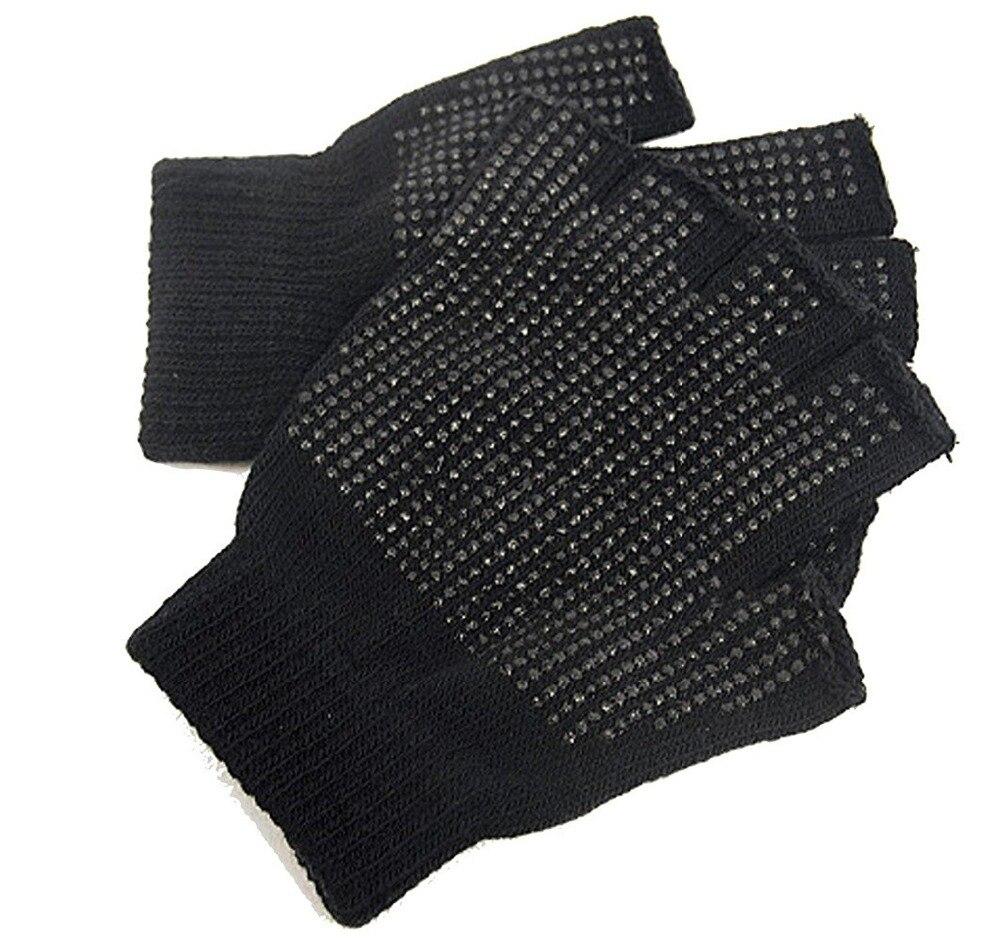 Mens gloves knitting pattern - Wholesale Black Gloves Men Male Knitted Half Finger Mittens Spring Winter Unisex Polka Dot Warm Non