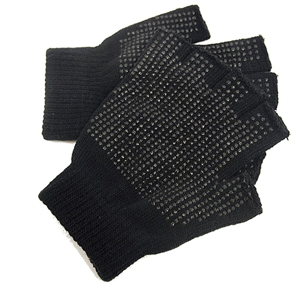 Black gloves online - Wholesale Black Gloves Men Male Knitted Half Finger Mittens Spring Winter Unisex Polka Dot Warm Non Slip Gloves For Work